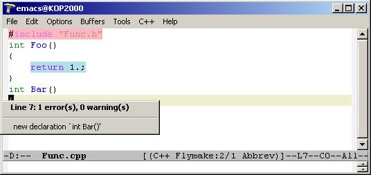 flymake in cpp file